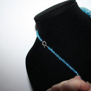 "Vintagejelyfish Jewelry - Blue crystal beaded necklace 19"""